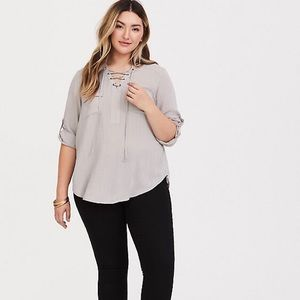TORRID Harper-Grey Lace-Up Pullover Blouse 0X